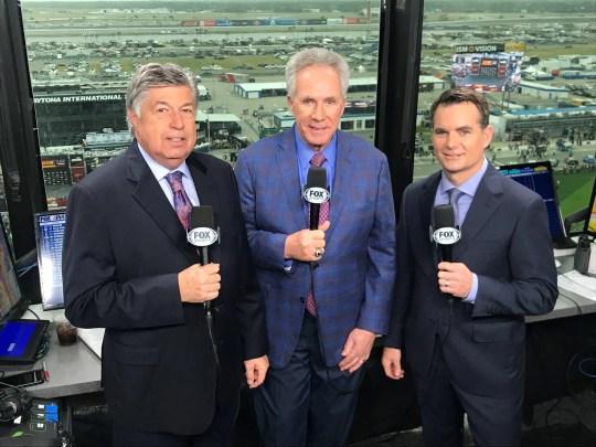 Mike Joy (left), Darrell Waltrip and Jeff Gordon. (Courtesy of Fox Sports)