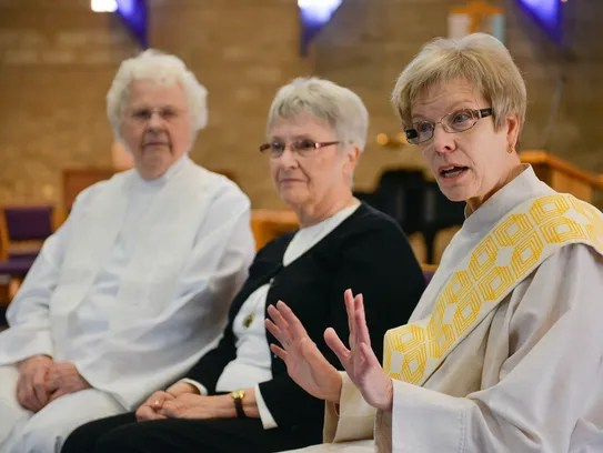 Ruth Lindstedt, right, who will be ordained April 10,