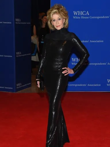 Jane Fonda kicked off a event in a chicky black gown.
