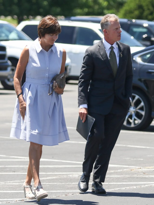 Vanderbilt baseball coach Tim Corbin and his wife, Maggie, arrive with the Vanderbilt baseball team to Faith Outreach Church in Clarksville on June 7, 2016 for Donny Everett's visitation and funeral services.