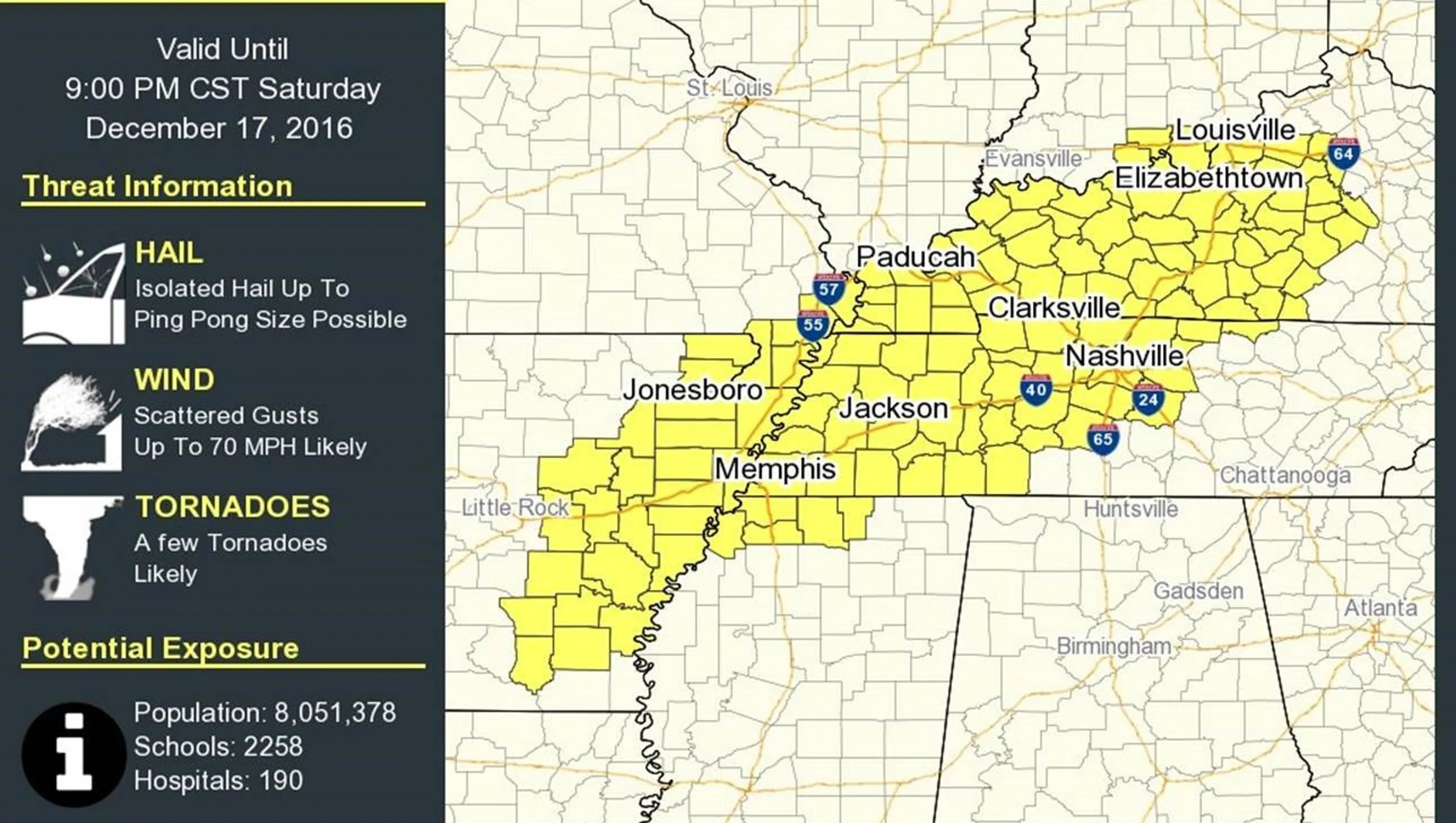 Tornado Watch Issued For Davidson And Williamson County