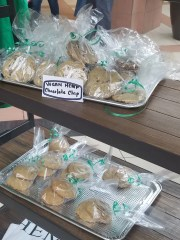 Hemp infused cookies, oils, shea butter are displayed