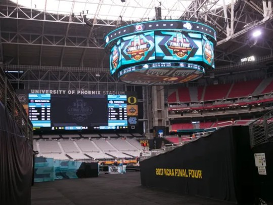 The scoreboard above the Final Four court at University