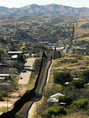 The Mexico-U.S. border fence that separates Nogales,