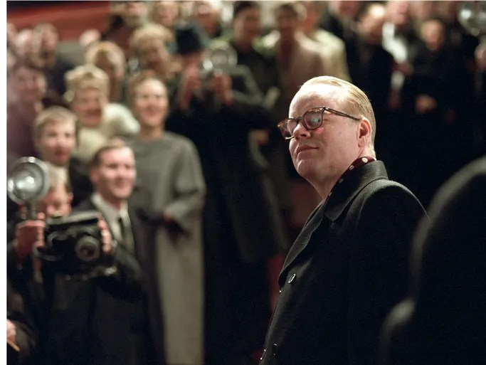 "Philip Seymour Hoffman was found dead in his New York City apartment on Feb. 2, 2014. Hoffman is seen here as Truman Capote in ""Capote."""