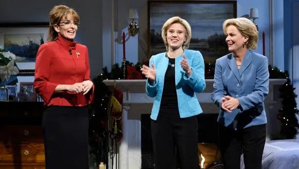 Tina Fey as Sarah Palin, Kate McKinnon as Hillary Clinton,