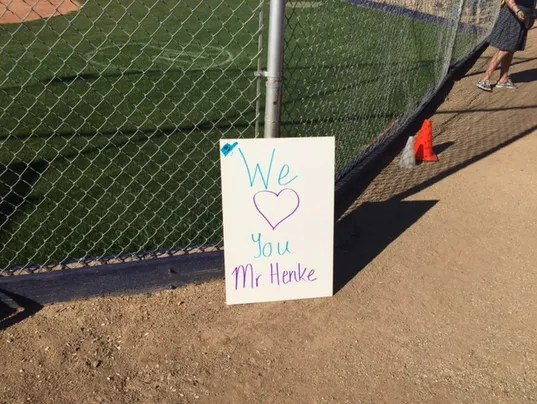 Coach Henke's sign
