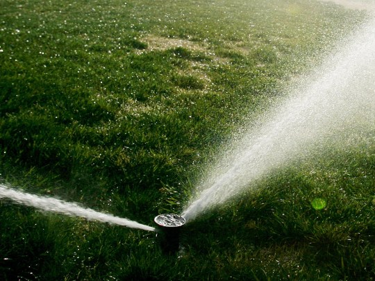 Sprinklers irrigate a lawn in this file photo.