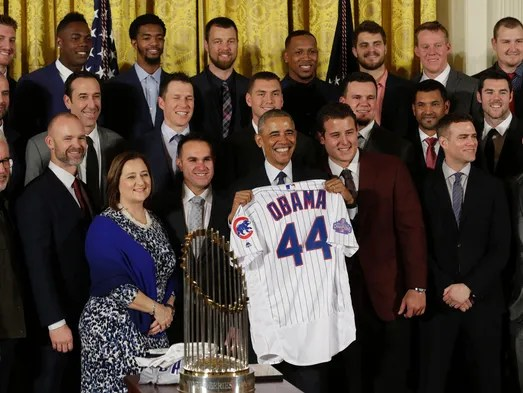 President Obama poses with with the World Series champion