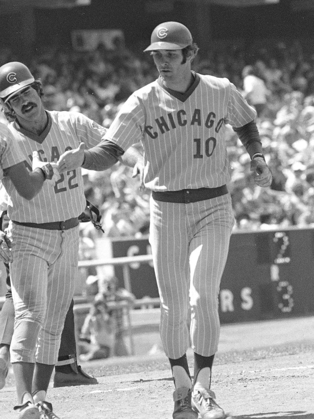 Black-and-white photography doesn't do these 1978 Chicago Cubs  uniforms justice. Just imagine powder blue with white pinstripes.