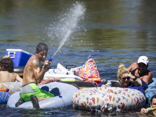 Rafters ride inner tubes on the Lower Salt River in