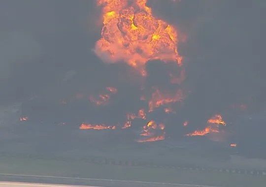 An explosion and fire was reported at a chemical plant