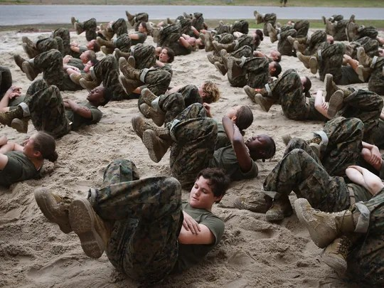 Female Marine recruits are disciplined with some unscheduled