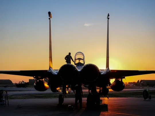 U.S. Air Force F-15E Strike Eagle sits after landing