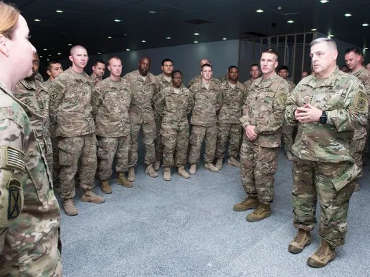 Army Chief of Staff Gen. Mark Milley talks to soldiers