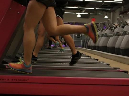 People running on the treadmill.