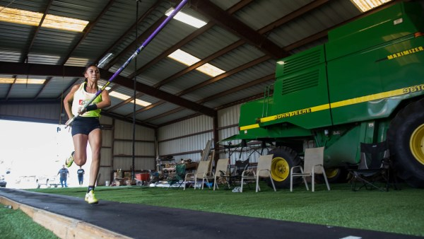 Woodsboro junior high pole vaulter Coscetti checks off a