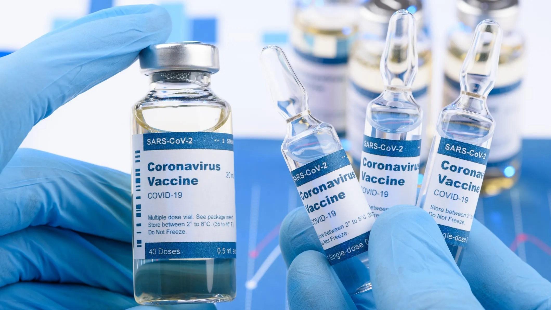 Long rows of COVID-19 vaccine vials