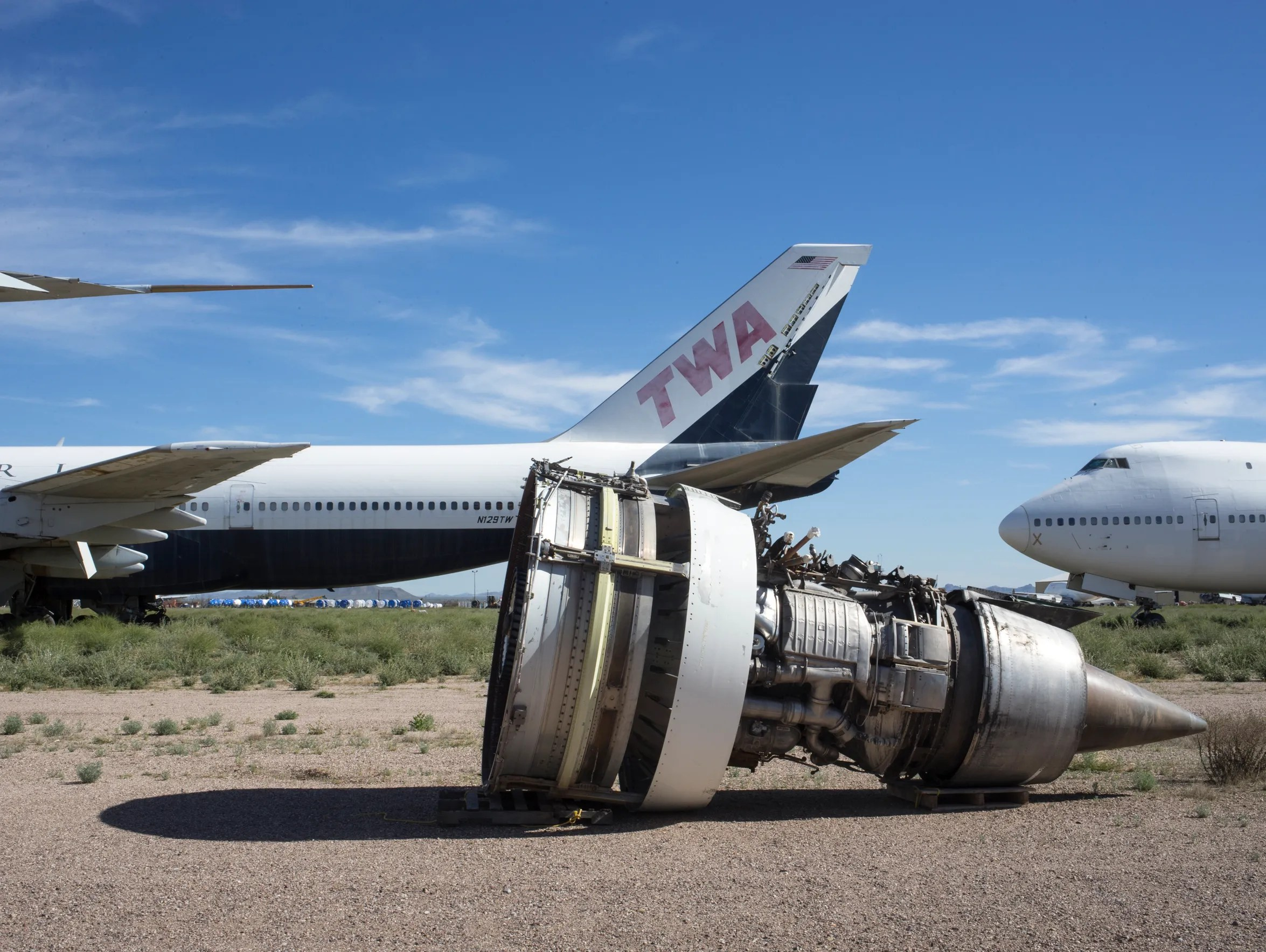 An engine, removed from a 747 at Pinal Airpark, Marana,
