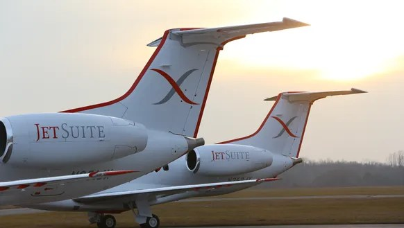 JetSuiteX's new Embraer aircraft are seen with their