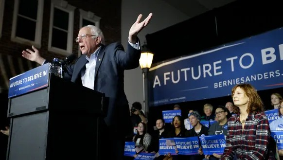 Bernie Sanders speaks during a campaign event as actress