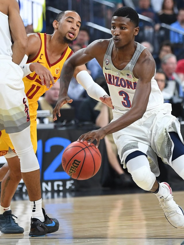 Mar 10, 2018; Las Vegas, NV, USA; Arizona Wildcats guard Dylan Smith (3) dribbles during the Pac-12 Tournament championship against the USC Trojans at T-Mobile Arena. Mandatory Credit: Stephen R. Sylvanie-USA TODAY Sports