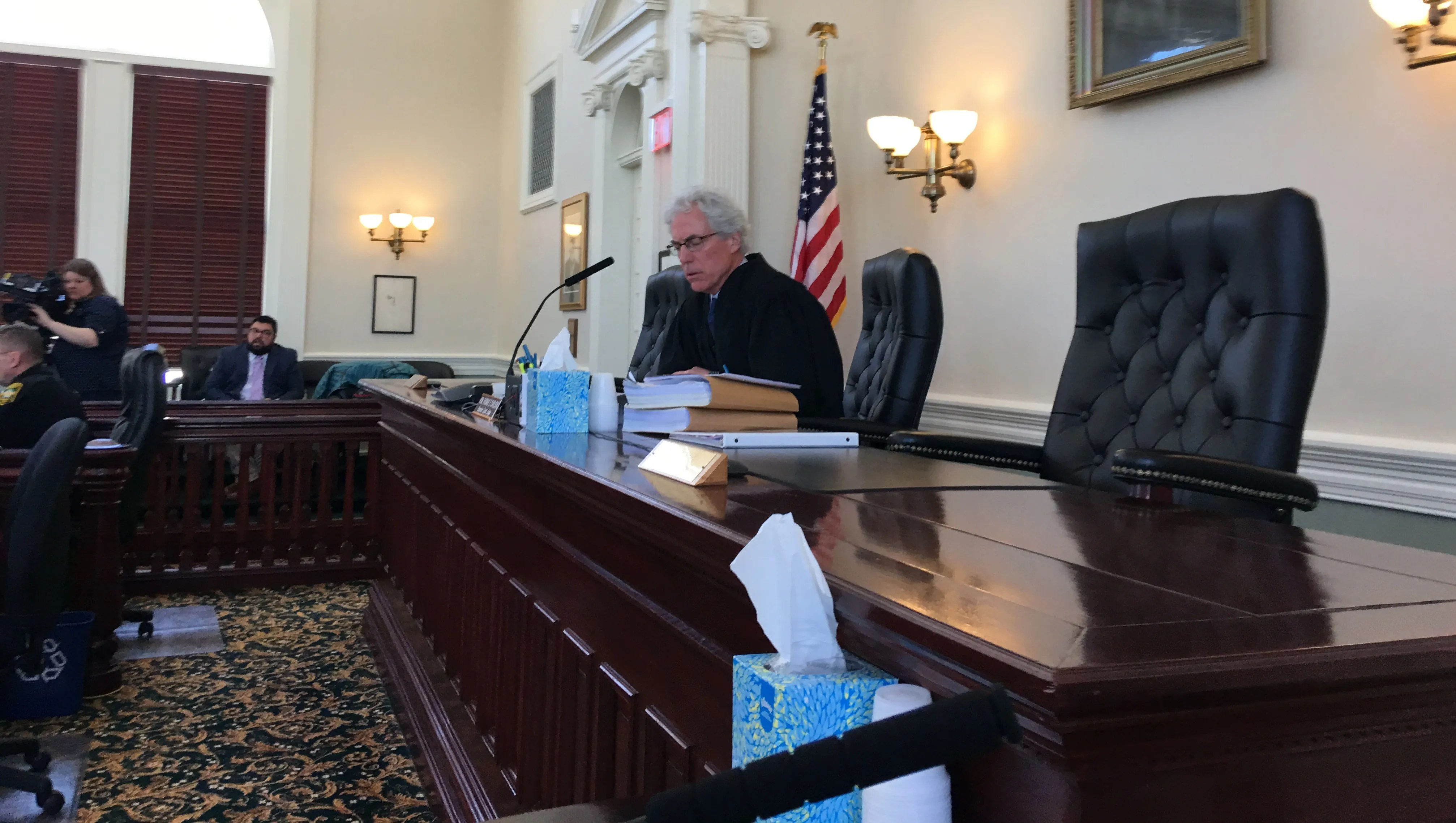 Vermont Superior Court Judge Thomas Carlson presides over legal proceedings in the EB-5 civil case on Monday March 19 in Hyde Park.