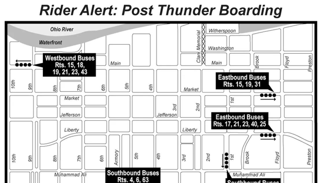 TARC bus route plan for Thunder Over Louisville