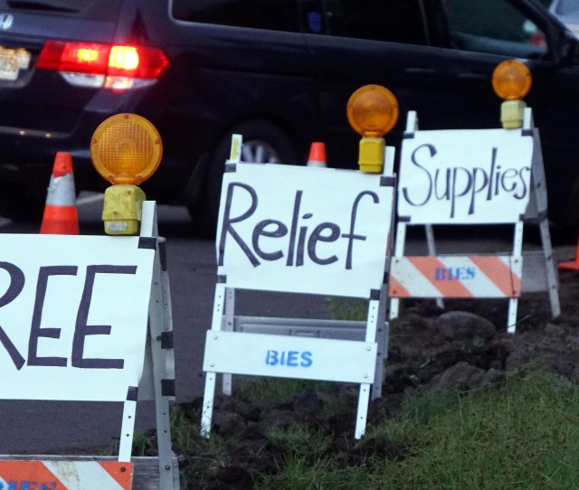 Signs Alert Evacuees To A Community Created Evacuation