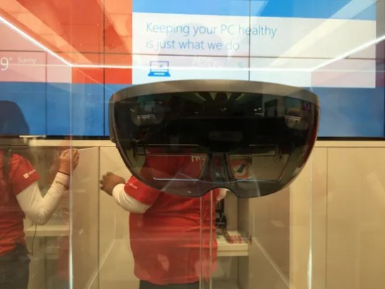 HoloLens headgear is in a case at the Microsoft Store