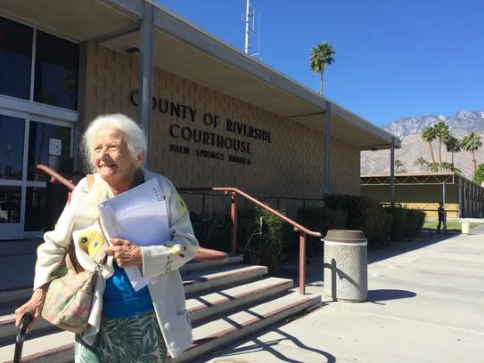 Evelyn Heller, 100, leaves the Palm Springs courthouse