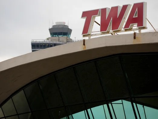 The iconic red-lettered TWA trademark stands atop a famous