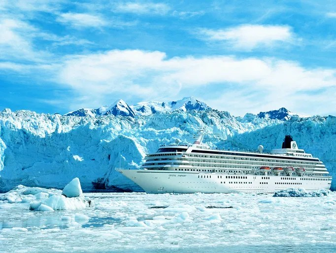 Alaska's coastline is studded with glaciers and inlets with improbable blue waters. The best of these is Glacier Bay, visited by many cruise ships such as Crystal Symphony.