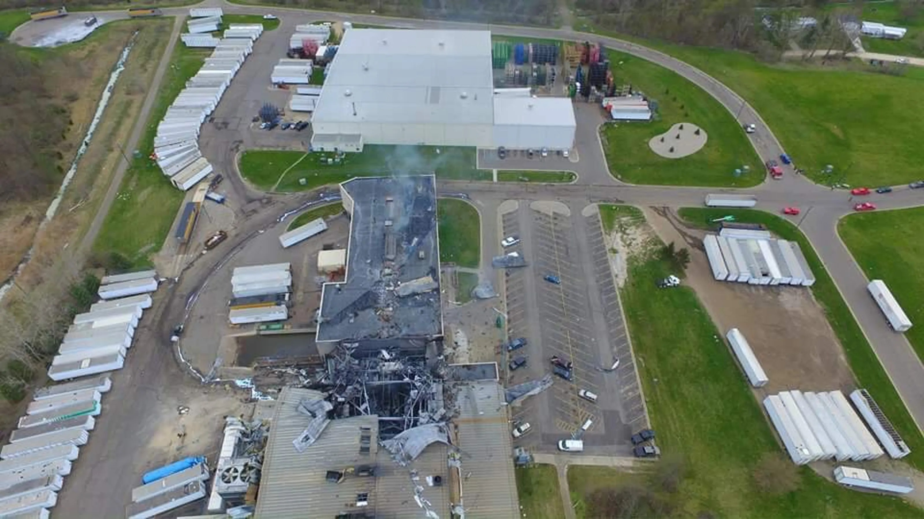 Watch Drone footage of the Meridian Magnesium fire and damage