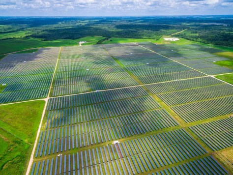 Aerial view of utility scale solar project.