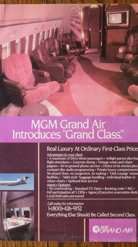 An ad for MGM Grand Air.