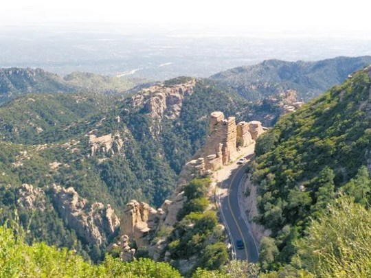 The Catalina Highway snakes up Mount Lemmon, northeast