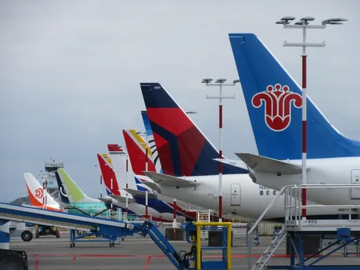 Boeing 737s painted in the colors of numerous airline