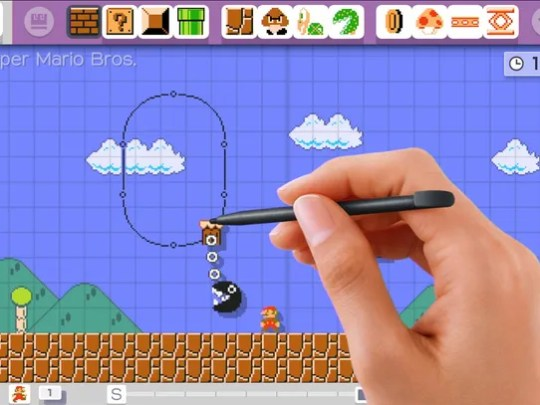 A player designs a level in the game 'Super Mario Maker.'