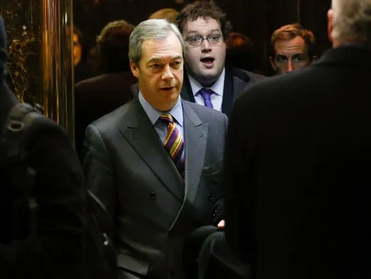 British politician Nigel Farage leaves the Trump Tower