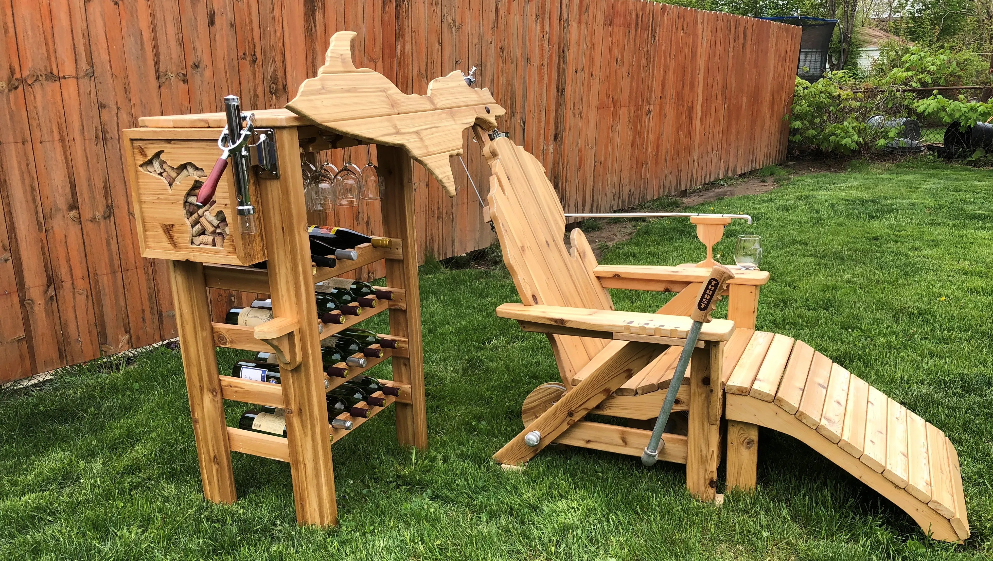 cheap lawn chair ergo desk this michigan will pour you wine with the pull of a lever