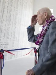 John Anderson visits the memorial at Pearl Harbor on
