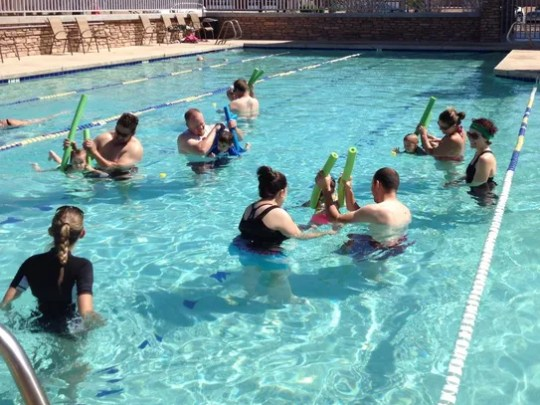 Swimming lessons are offered for people of all ages.