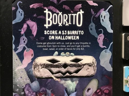 Wearing your Halloween costume to Chipotle has its
