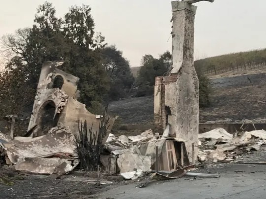 A home destroyed in Sonoma, Calif. during the Northern