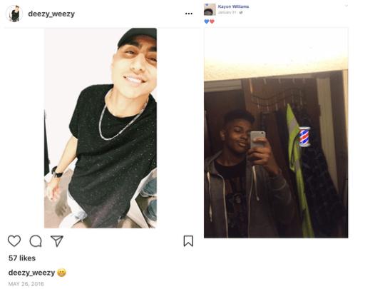 DeSean Estrada (left), 20, and Kayon Williams, 16,