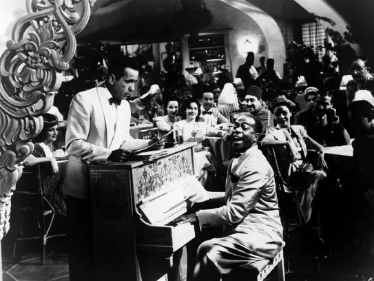 Humphrey Bogart and Dooley Wilson in a scene from the