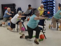 Chair aerobics stands up for fitness