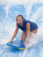 "Kelsey Williams checks out the ""Flow Rider"" at the"