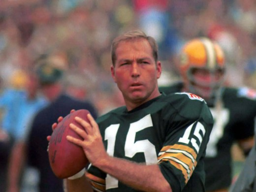 Green Bay Packers quarterback Bart Starr warms up during the 1969 season.